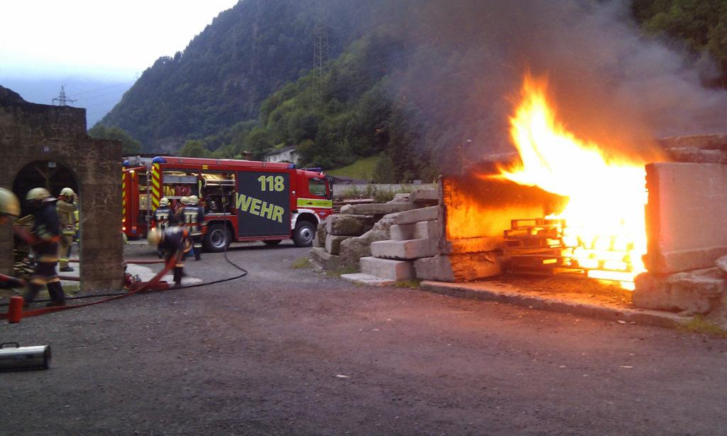 Die Feuerwehr probt mehrmals jährlich den Ernstfall.