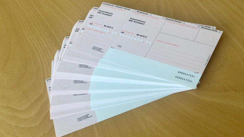 Bestellung Einzahlungsscheine